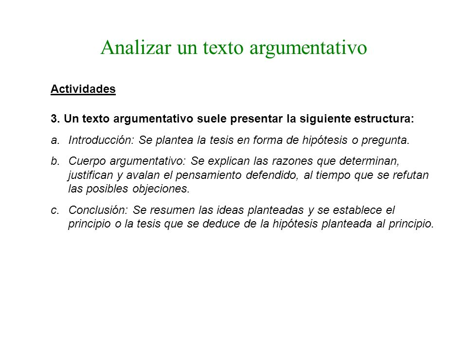 Analizar un texto argumentativo