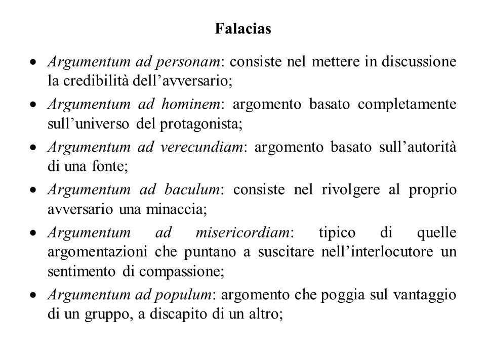 Falacias Argumentum ad personam: consiste nel mettere in discussione la credibilità dell'avversario;