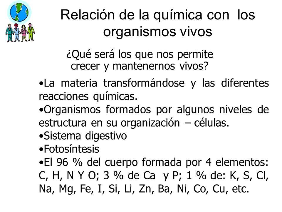 Relación de la química con los organismos vivos