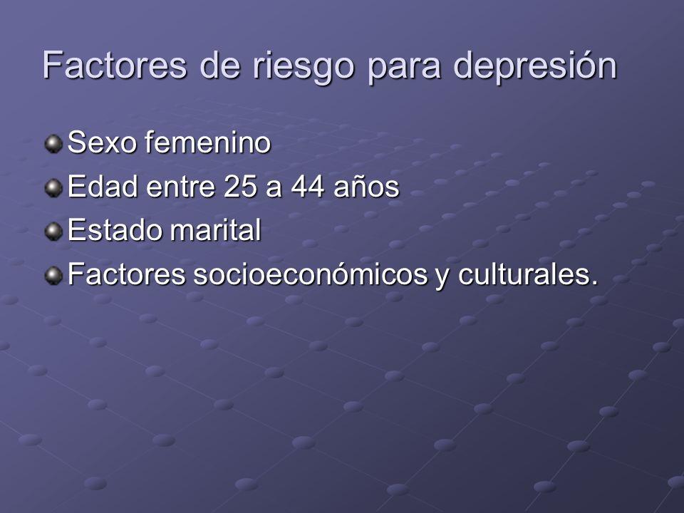 Factores de riesgo para depresión