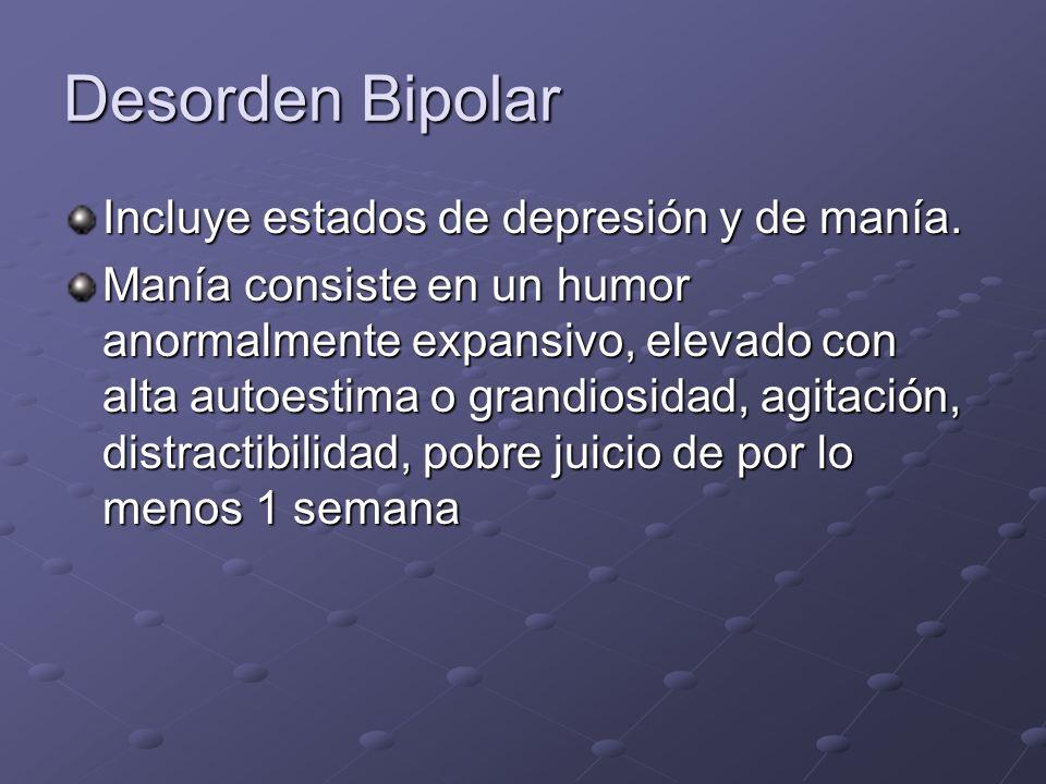 Desorden Bipolar Incluye estados de depresión y de manía.