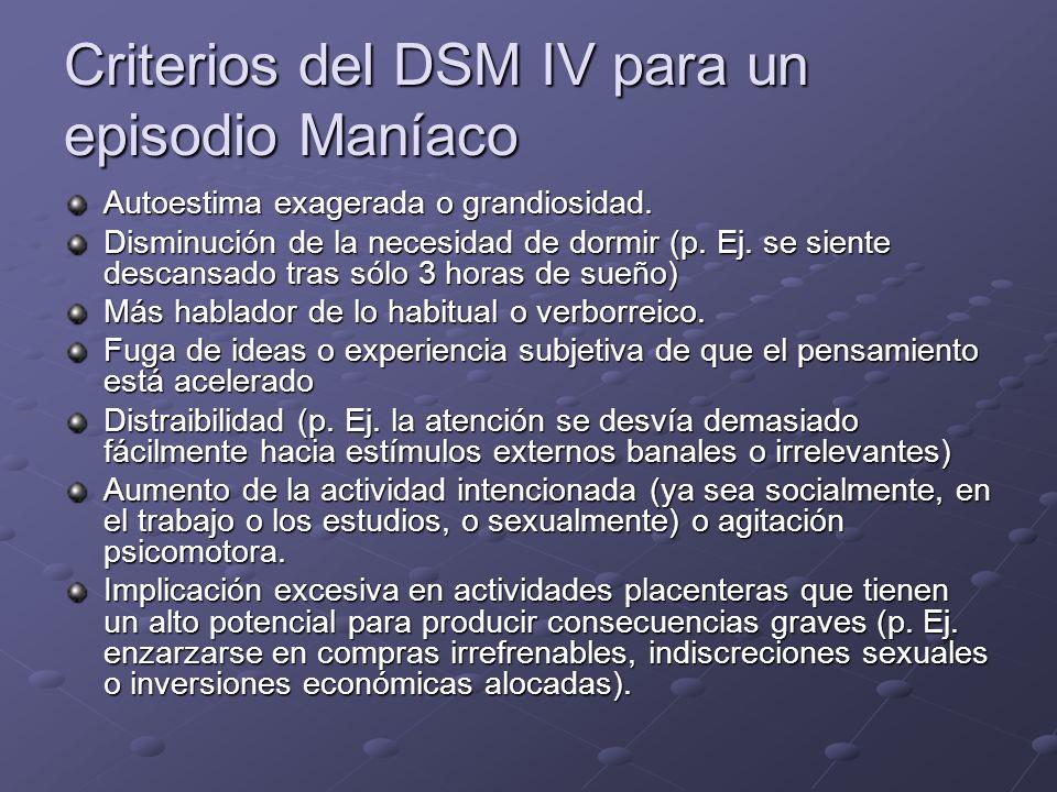 Criterios del DSM IV para un episodio Maníaco