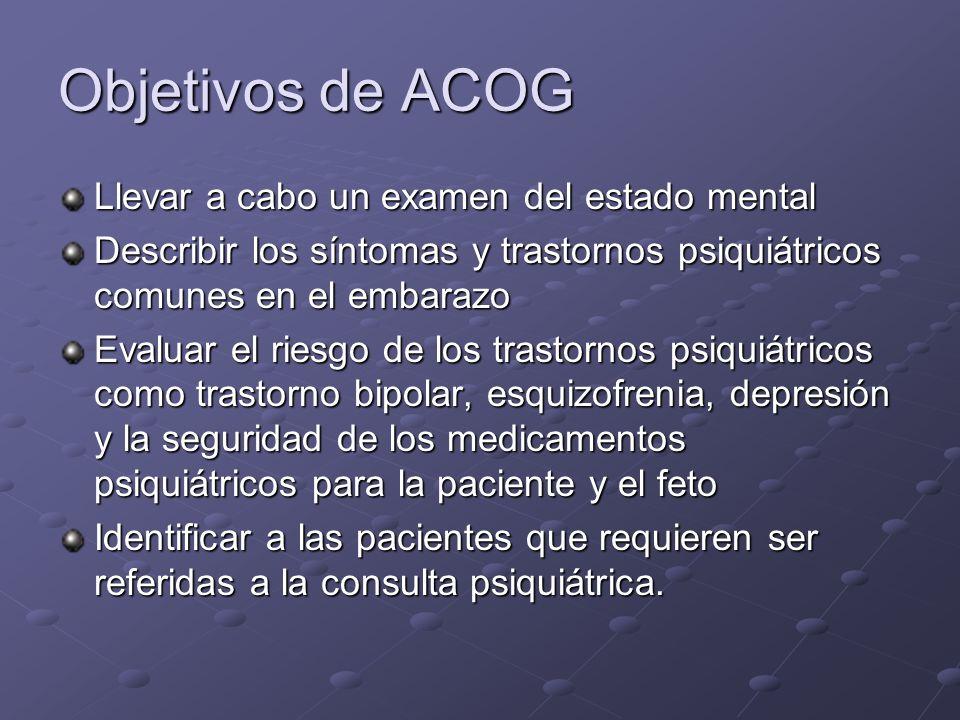 Objetivos de ACOG Llevar a cabo un examen del estado mental