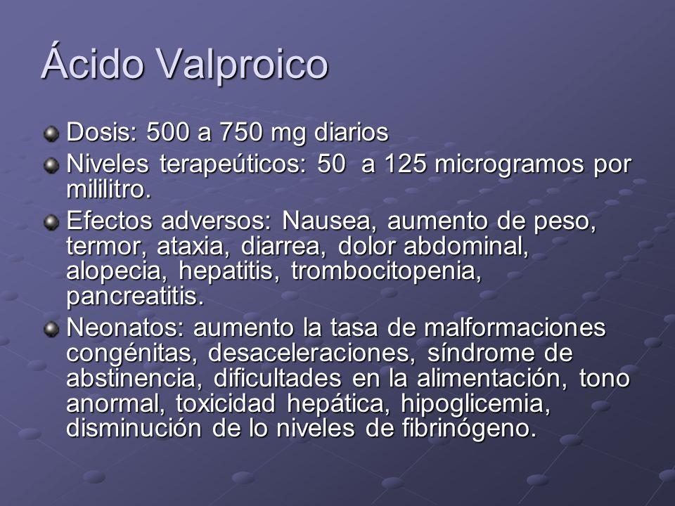 Ácido Valproico Dosis: 500 a 750 mg diarios