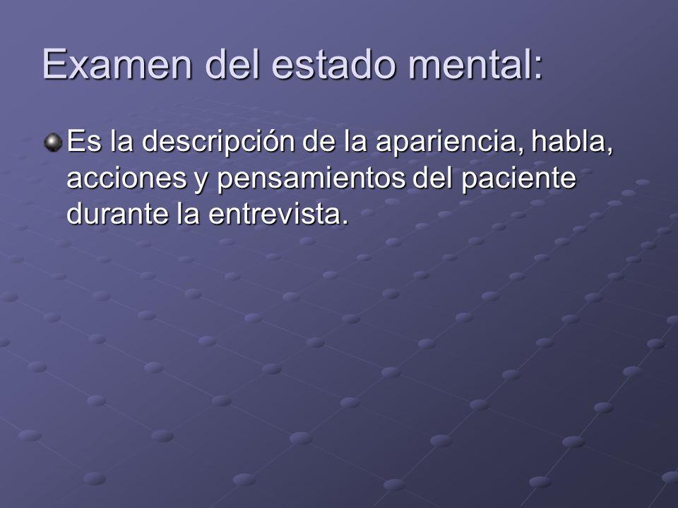 Examen del estado mental:
