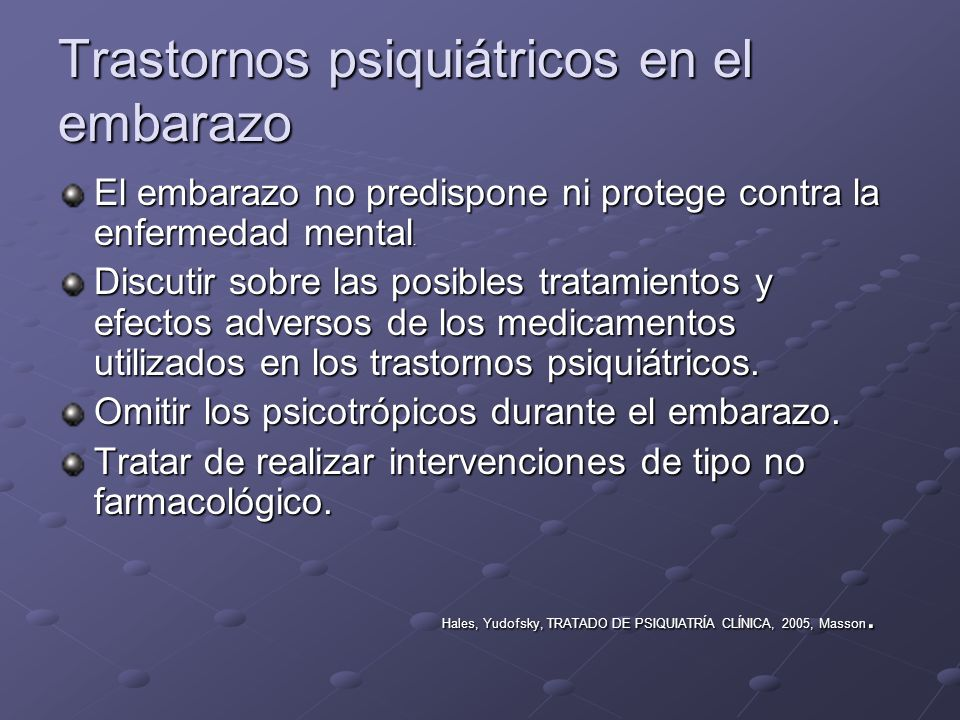 Trastornos psiquiátricos en el embarazo