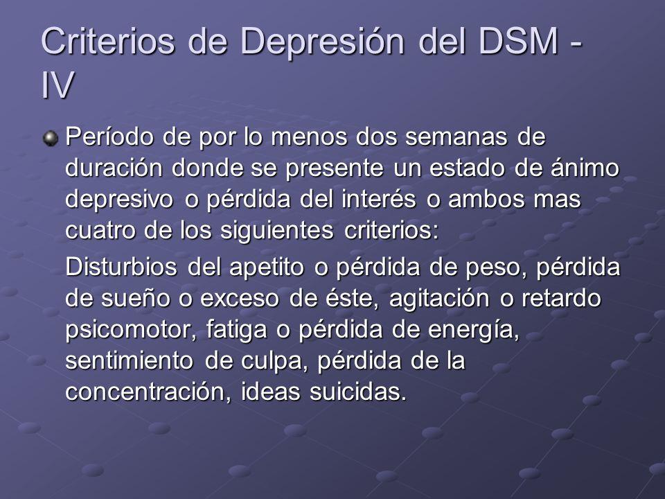 Criterios de Depresión del DSM - IV