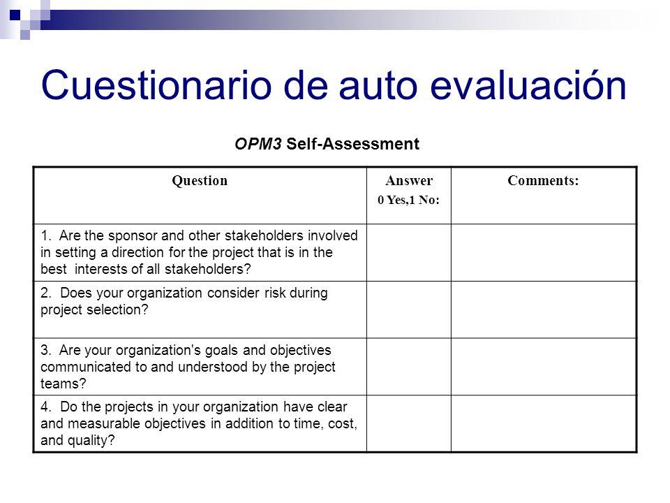 Cuestionario de auto evaluación