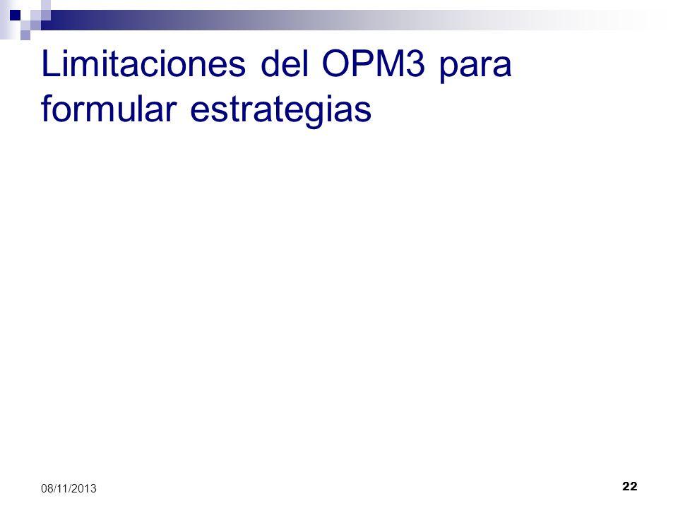 Limitaciones del OPM3 para formular estrategias