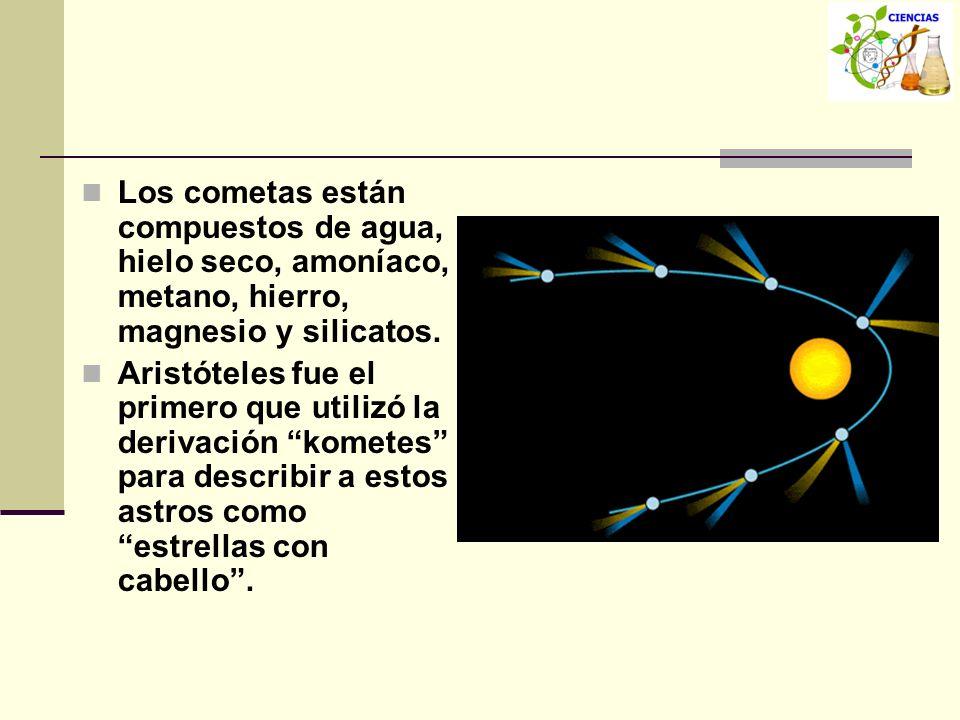 Los cometas están compuestos de agua, hielo seco, amoníaco, metano, hierro, magnesio y silicatos.