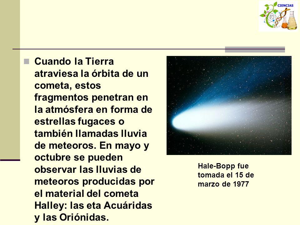 Cuando la Tierra atraviesa la órbita de un cometa, estos fragmentos penetran en la atmósfera en forma de estrellas fugaces o también llamadas lluvia de meteoros. En mayo y octubre se pueden observar las lluvias de meteoros producidas por el material del cometa Halley: las eta Acuáridas y las Oriónidas.