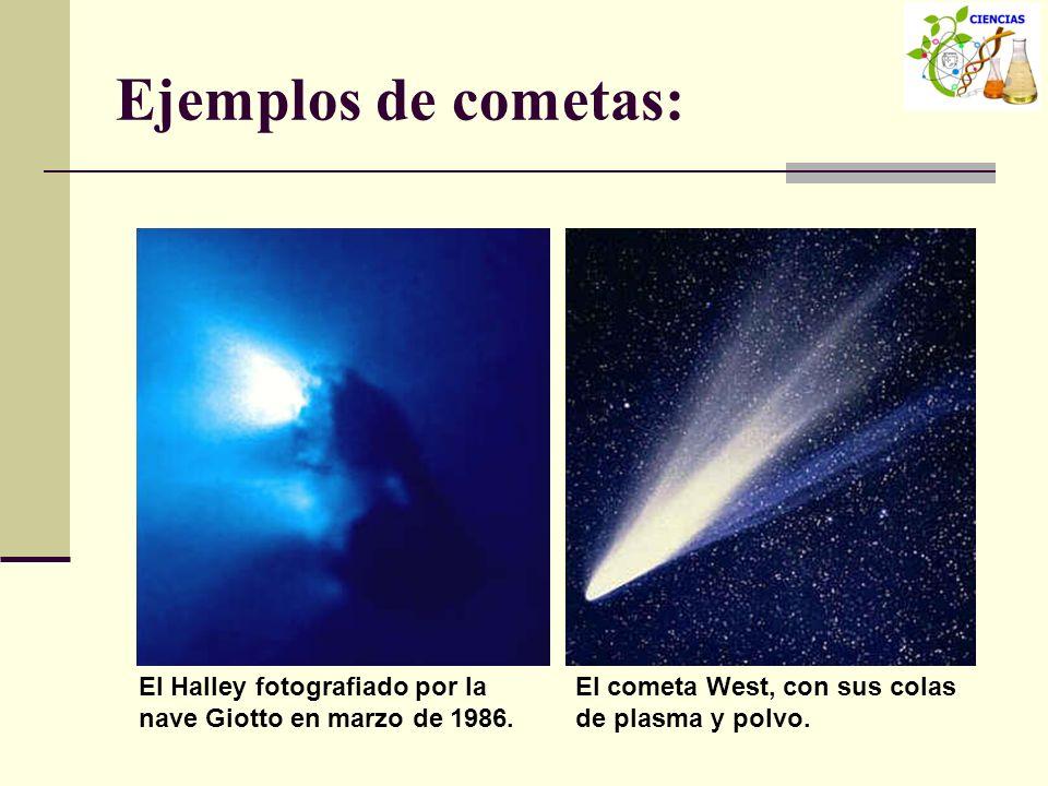 Ejemplos de cometas:El Halley fotografiado por la nave Giotto en marzo de 1986.