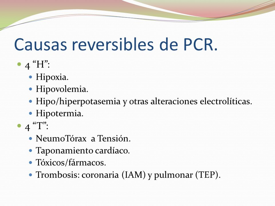 Causas reversibles de PCR.