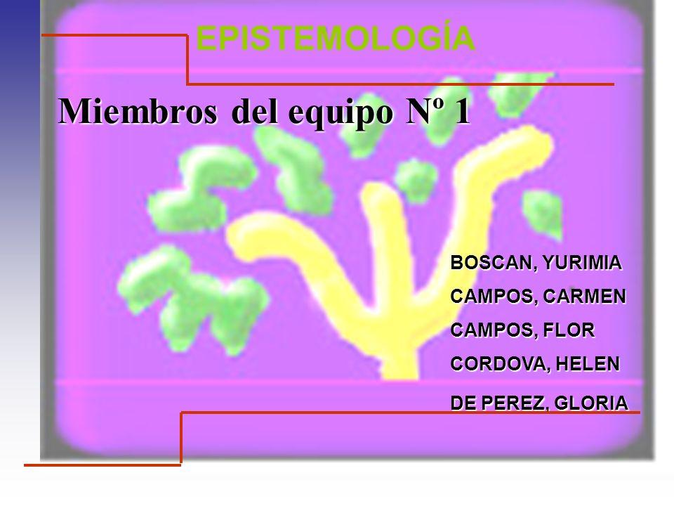 Miembros del equipo Nº 1 EPISTEMOLOGÍA BOSCAN, YURIMIA CAMPOS, CARMEN