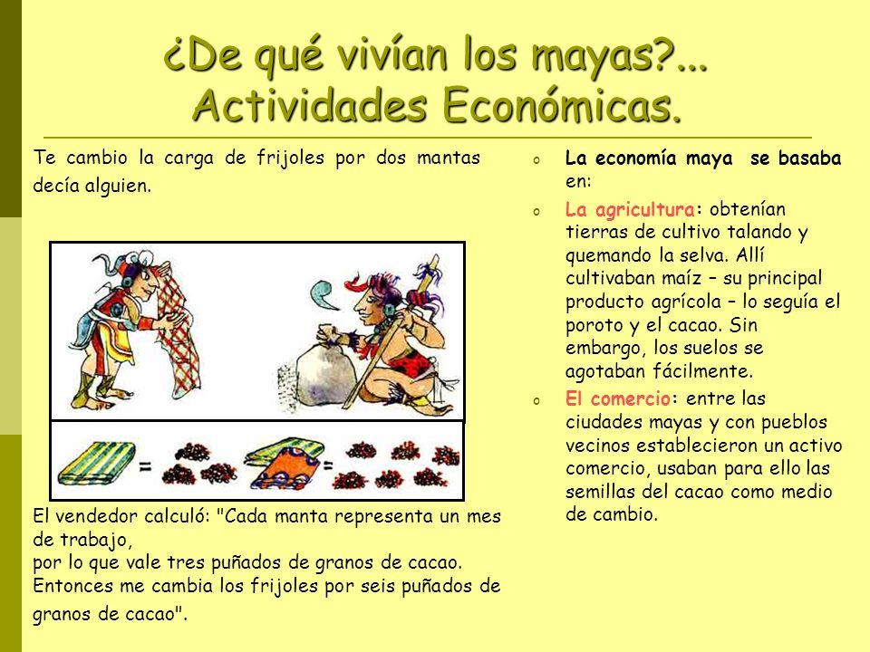 ¿De qué vivían los mayas ... Actividades Económicas.