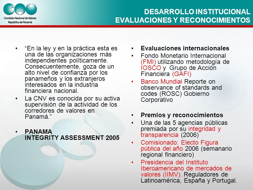 DESARROLLO INSTITUCIONAL EVALUACIONES Y RECONOCIMIENTOS