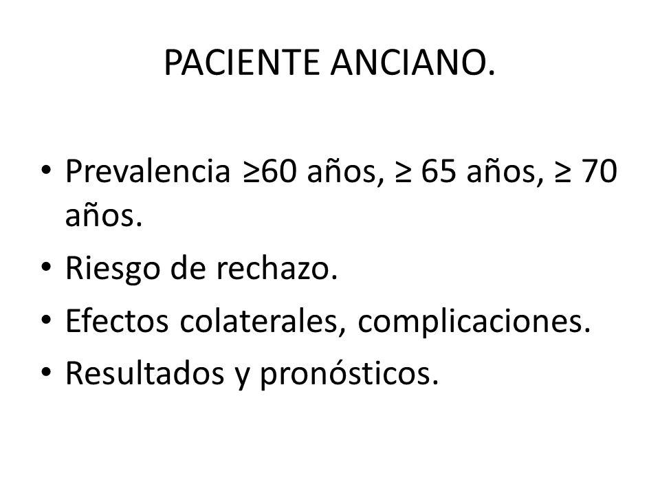 PACIENTE ANCIANO. Prevalencia ≥60 años, ≥ 65 años, ≥ 70 años.