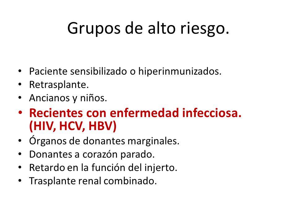Grupos de alto riesgo. Paciente sensibilizado o hiperinmunizados. Retrasplante. Ancianos y niños.