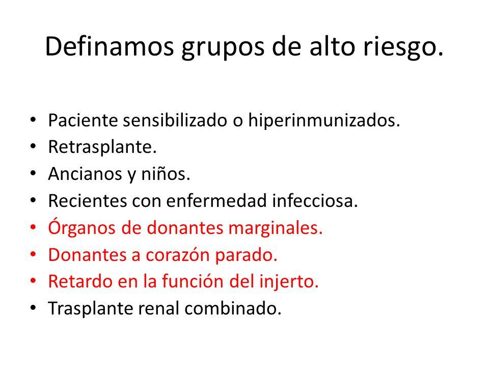 Definamos grupos de alto riesgo.