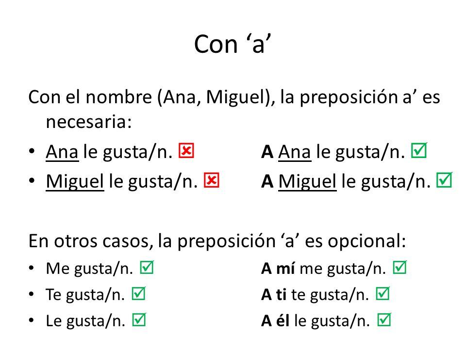 Con 'a' Con el nombre (Ana, Miguel), la preposición a' es necesaria:
