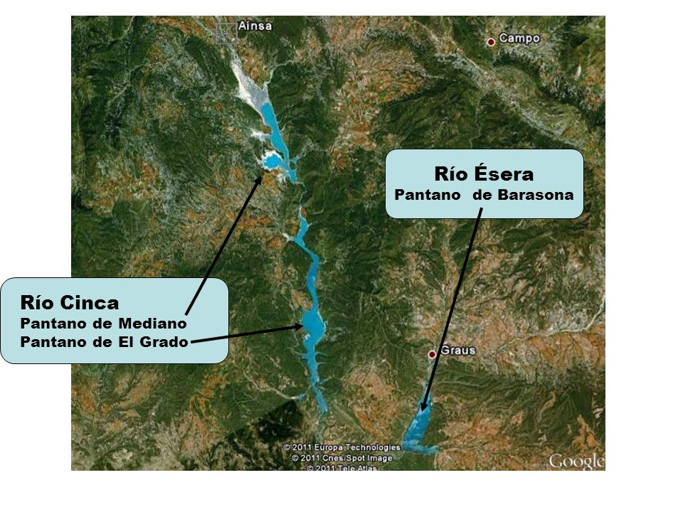 Río Ésera Río Cinca Pantano de Barasona Pantano de Mediano