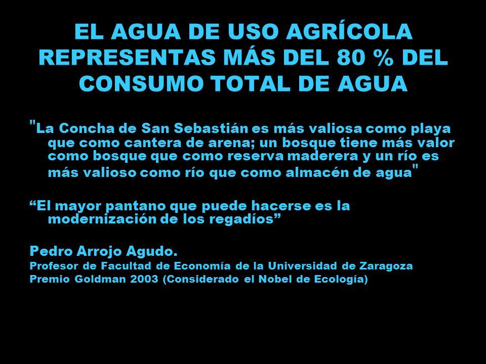 EL AGUA DE USO AGRÍCOLA REPRESENTAS MÁS DEL 80 % DEL CONSUMO TOTAL DE AGUA