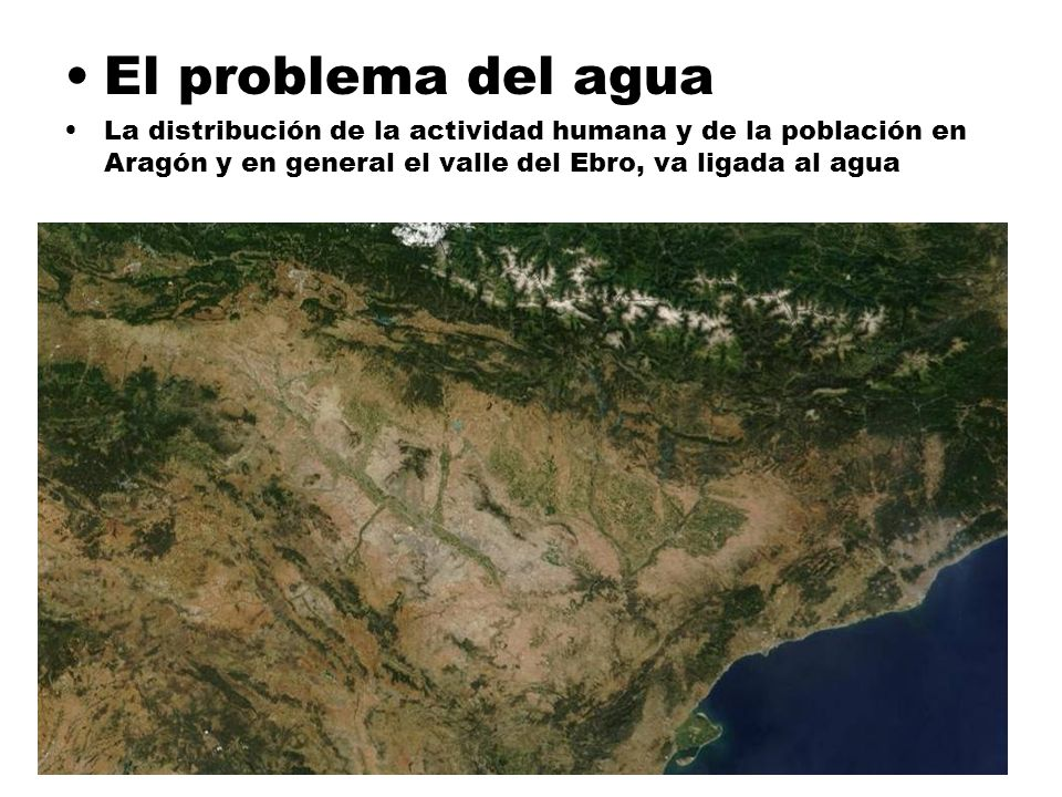 El problema del agua La distribución de la actividad humana y de la población en Aragón y en general el valle del Ebro, va ligada al agua.