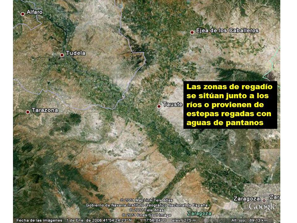 Las zonas de regadío se sitúan junto a los ríos o provienen de estepas regadas con aguas de pantanos