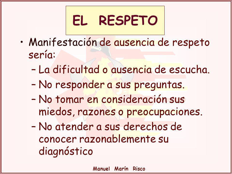 EL RESPETO Manifestación de ausencia de respeto sería: