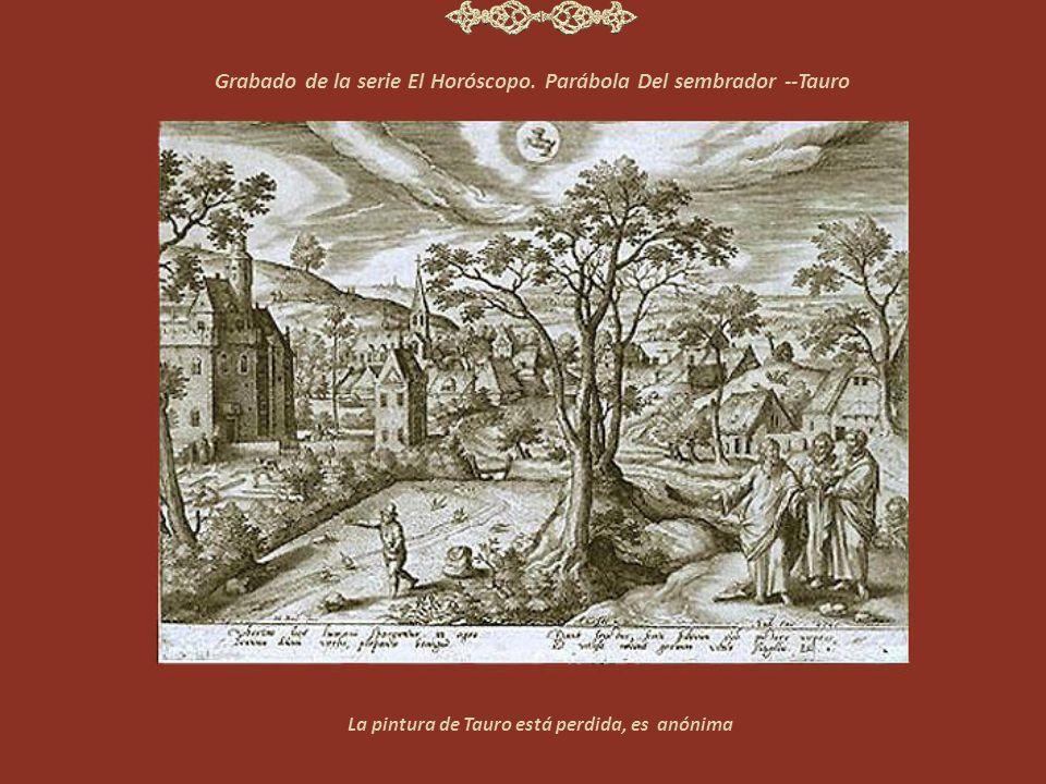 Grabado de la serie El Horóscopo. Parábola Del sembrador --Tauro