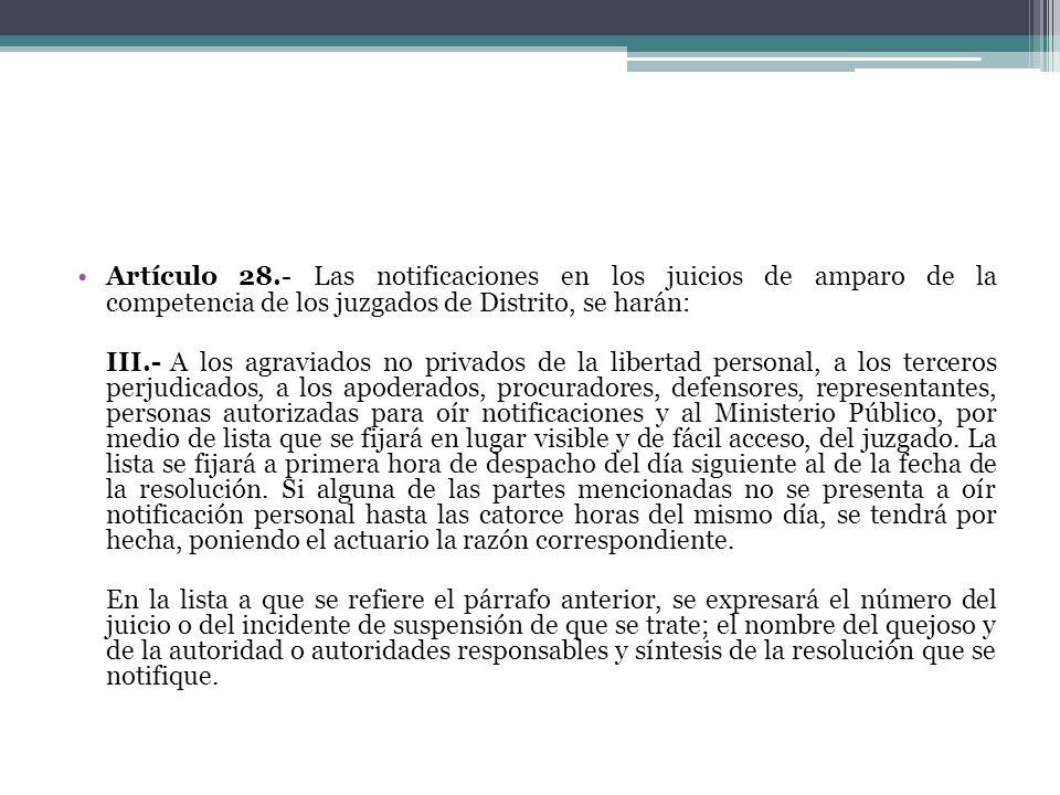 Artículo 28.- Las notificaciones en los juicios de amparo de la competencia de los juzgados de Distrito, se harán: