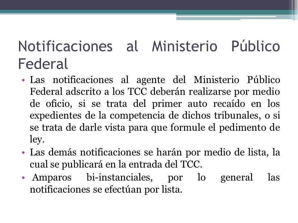Notificaciones al Ministerio Público Federal