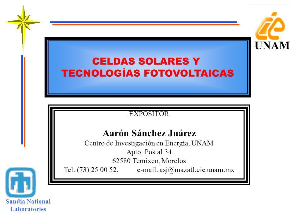 TECNOLOGÍAS FOTOVOLTAICAS Sandia National Laboratories