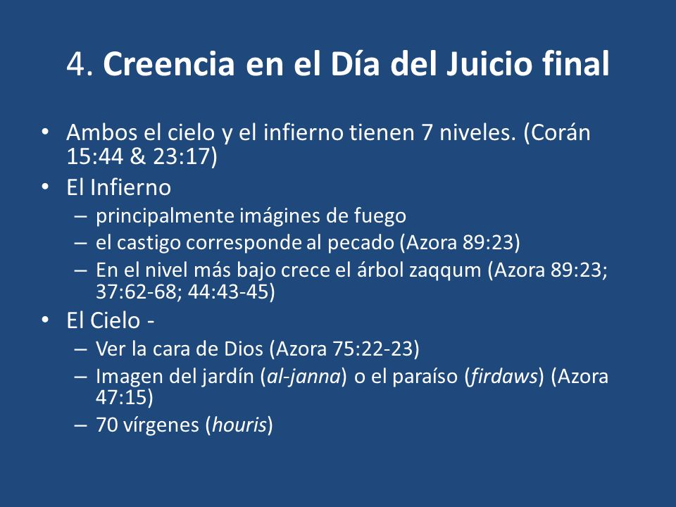 4. Creencia en el Día del Juicio final