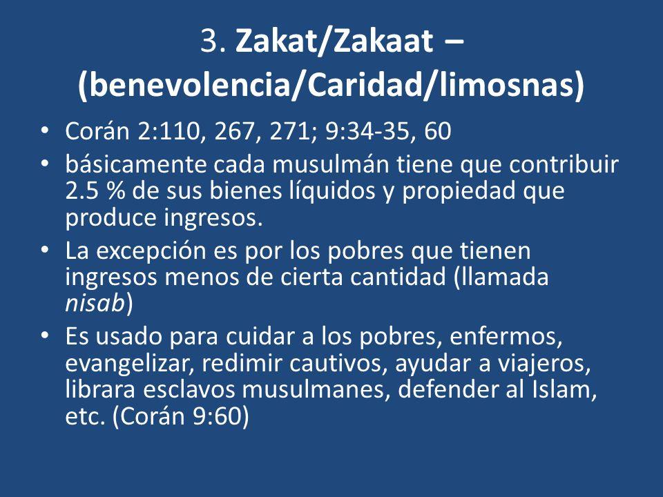3. Zakat/Zakaat – (benevolencia/Caridad/limosnas)