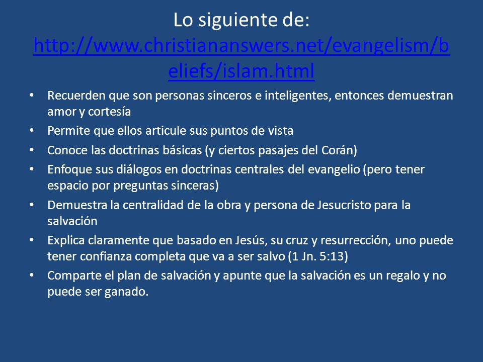 Lo siguiente de: http://www. christiananswers
