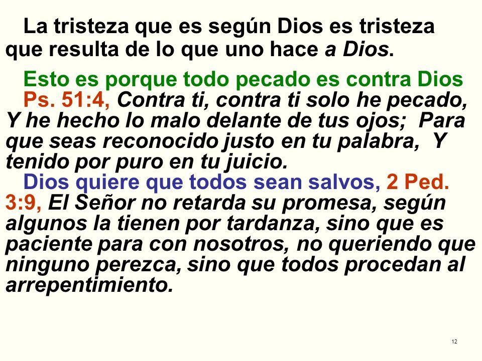 La tristeza que es según Dios es tristeza que resulta de lo que uno hace a Dios.