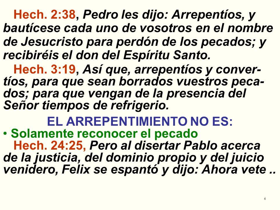 EL ARREPENTIMIENTO NO ES: