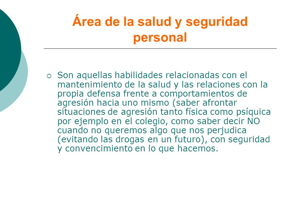 Área de la salud y seguridad personal
