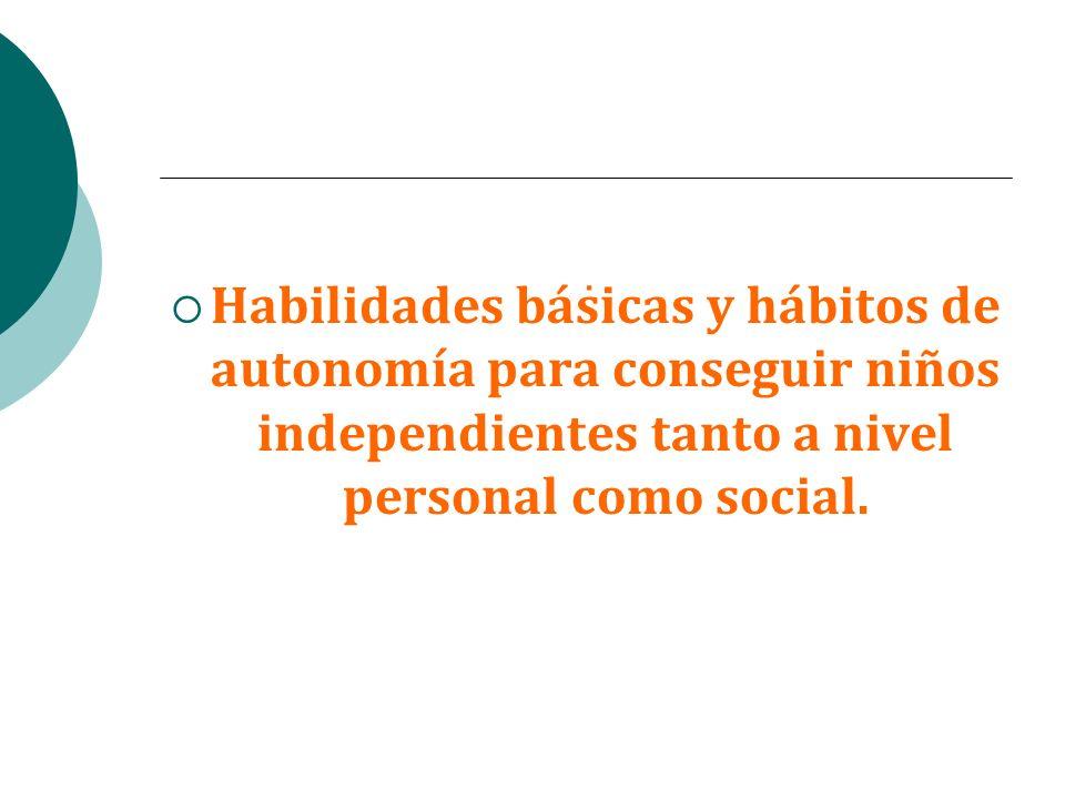 .Habilidades básicas y hábitos de autonomía para conseguir niños independientes tanto a nivel personal como social.