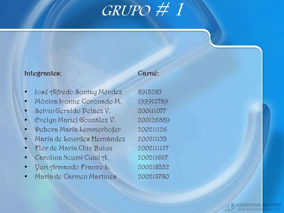 GRUPO # 1 Integrantes: Carné: José Alfredo Sontay Méndez 8913285