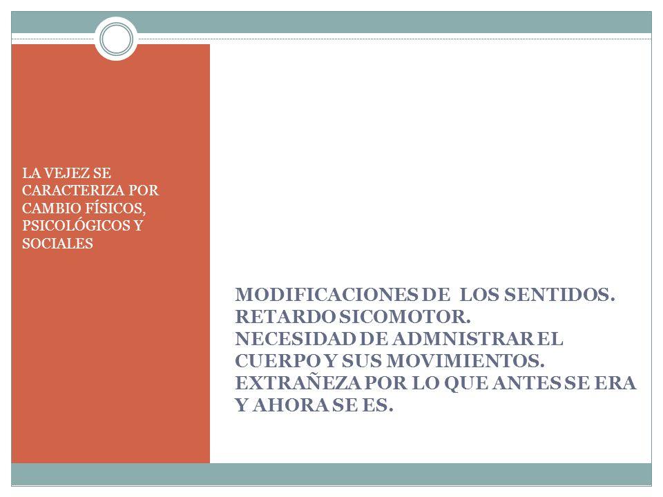 LA VEJEZ SE CARACTERIZA POR CAMBIO FÍSICOS, PSICOLÓGICOS Y SOCIALES