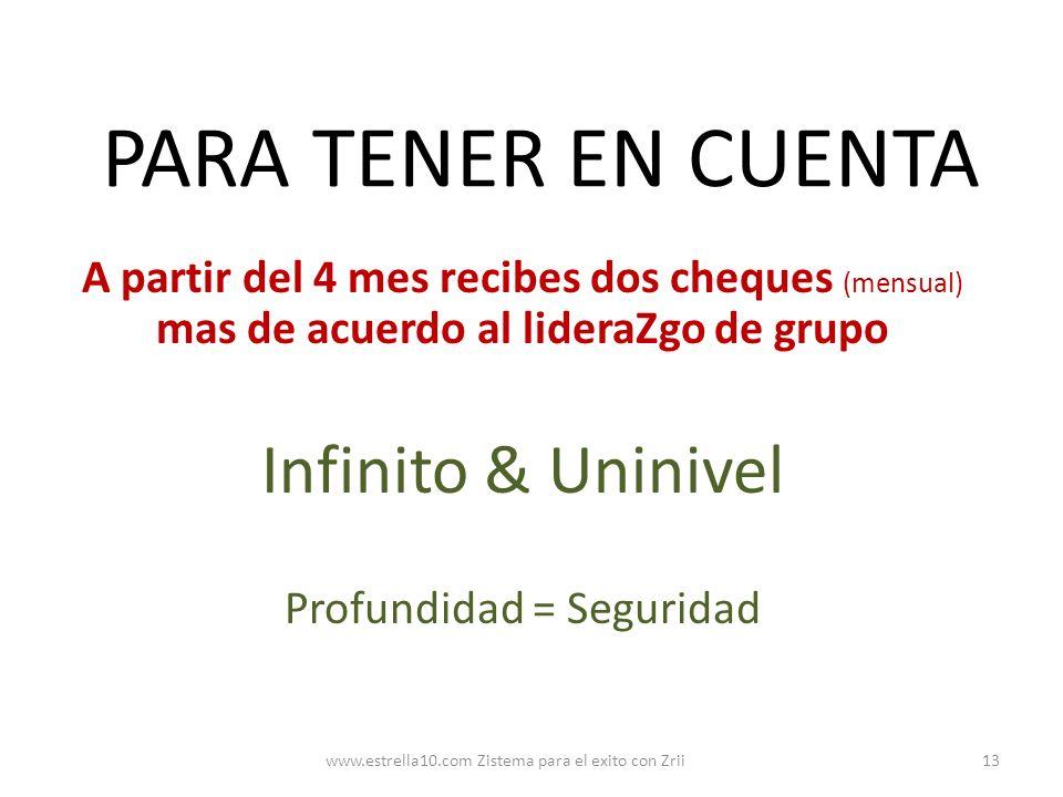PARA TENER EN CUENTA Infinito & Uninivel