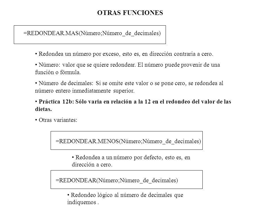 OTRAS FUNCIONES =REDONDEAR.MAS(Número;Número_de_decimales)