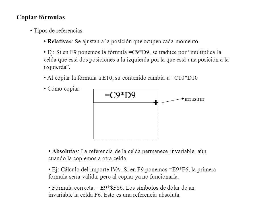 =C9*D9 + Copiar fórmulas Tipos de referencias: