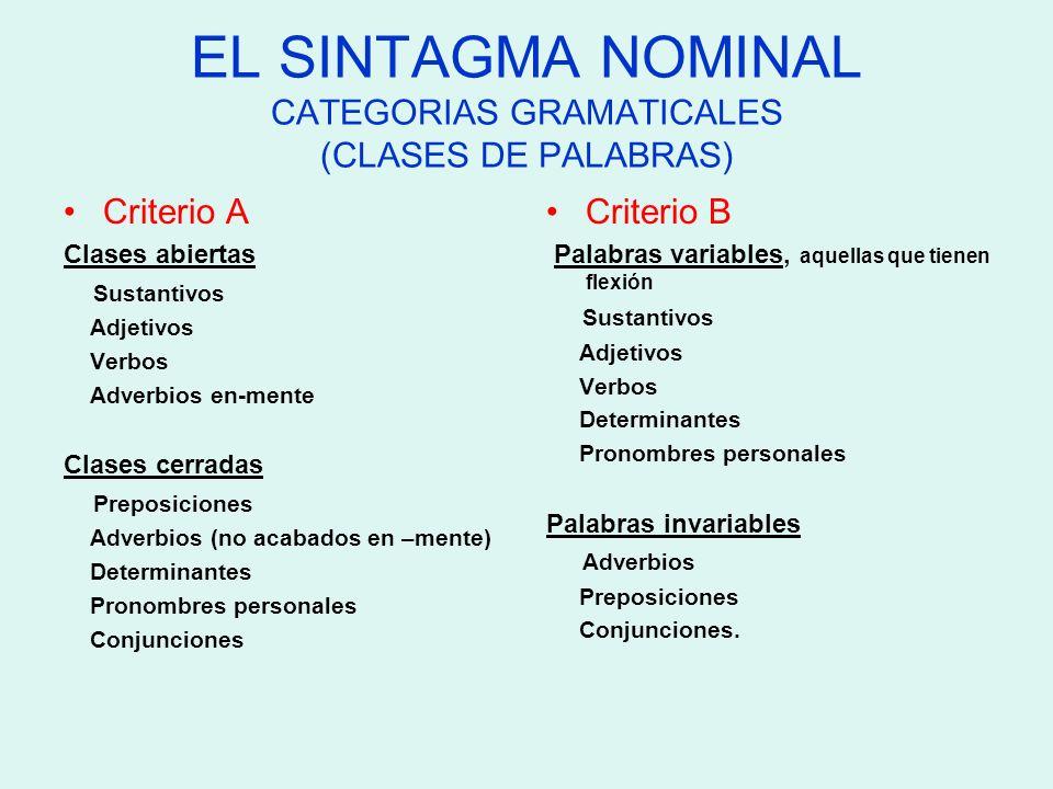 EL SINTAGMA NOMINAL CATEGORIAS GRAMATICALES (CLASES DE PALABRAS)