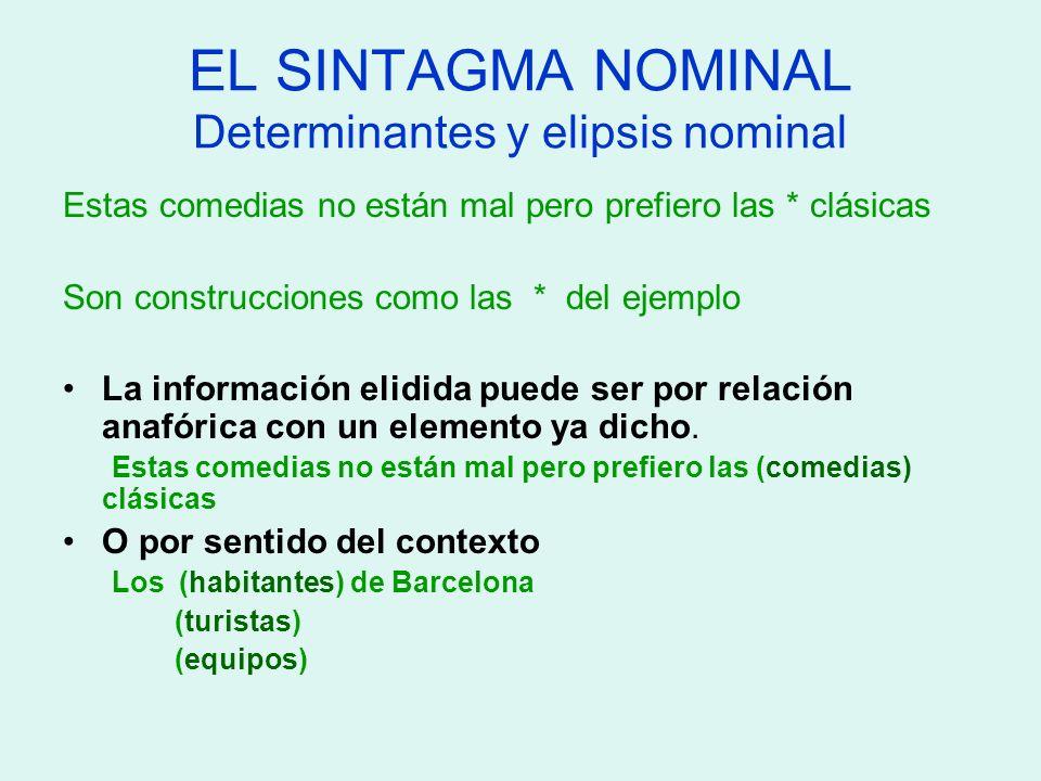 EL SINTAGMA NOMINAL Determinantes y elipsis nominal