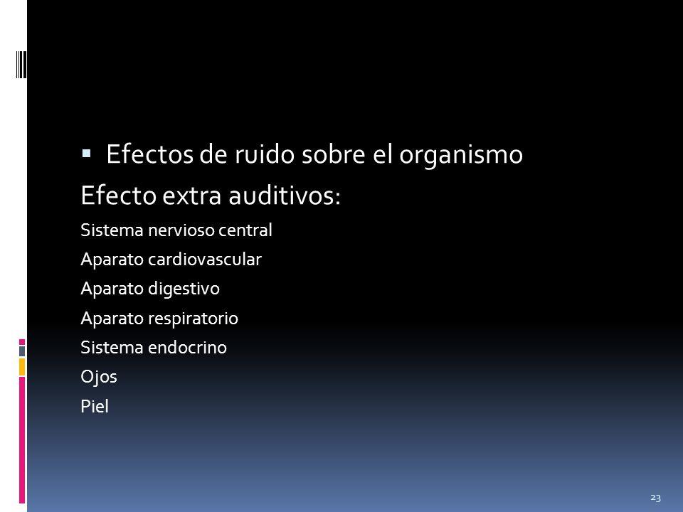 Efectos de ruido sobre el organismo Efecto extra auditivos: