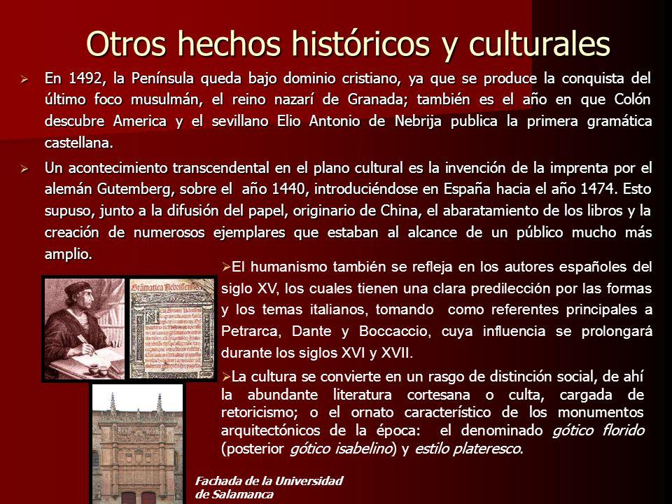 Otros hechos históricos y culturales