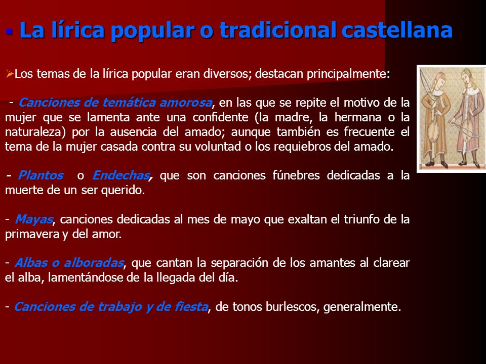 La lírica popular o tradicional castellana